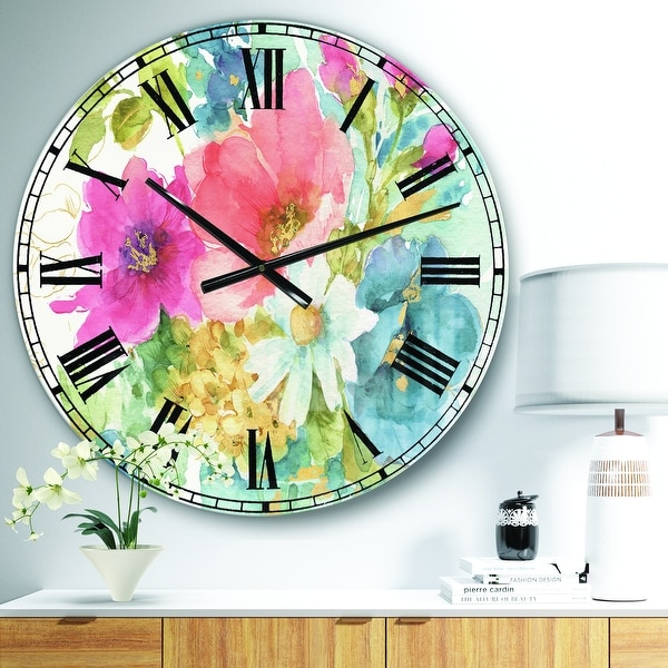 Designart 'My French Garden' Farmhouse Large Wall CLock. Opens flyout.