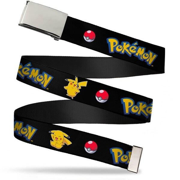 "Blank Chrome 1.0"" Buckle Pok�mon Pikachu Poses & Pok� Ball Black Webbing Web Belt 1.0"" Wide - S"