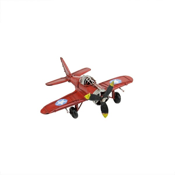 "6.5"" Vintage-Style Red Airplane with Stars and Stipes Decorative Christmas Ornament"