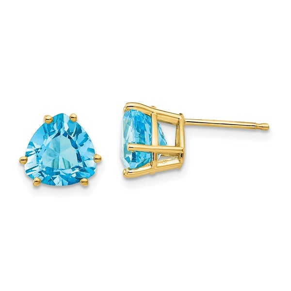14K Yellow Gold 8mm Trillion Blue Topaz Earrings by Versil. Opens flyout.