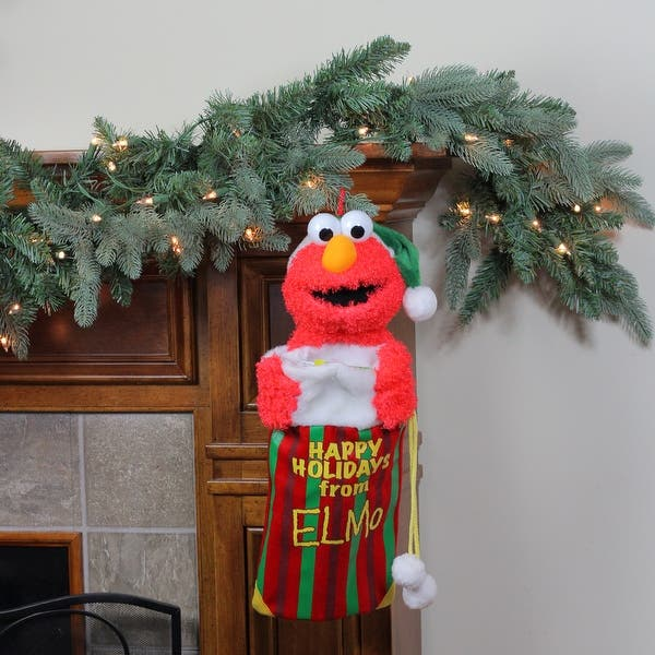 Shop 18 Sesame Street Plush Happy Holidays From Elmo Christmas Stocking Red Overstock 16554067
