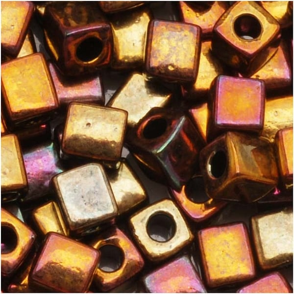 Miyuki 4mm Glass Cube Beads 'Metallic Bronze Iris' 462 10 Grams
