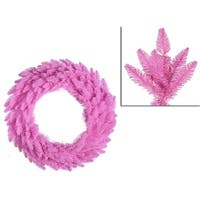 "24"" Pre-Lit Pink Ashley Spruce Christmas Wreath - Clear & Pink Lights"