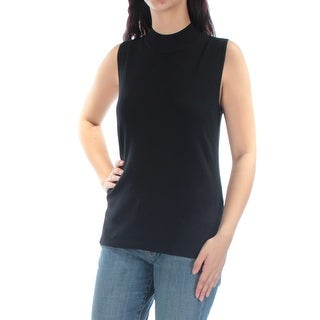 Womens Black Sleeveless Turtle Neck Casual Top Size M