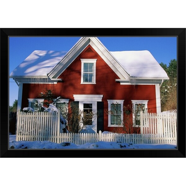 """""""Rustic house in New England snow"""" Black Framed Print"""