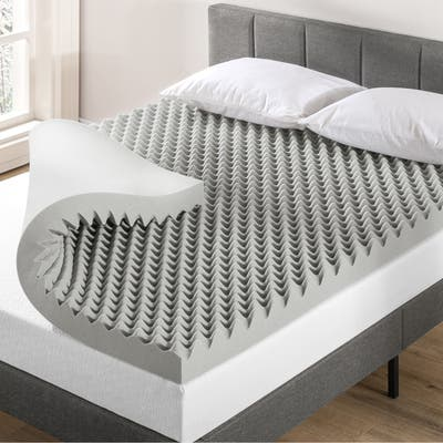 4 Inch Egg Crate Memory Foam Topper with Bamboo Charcoal Infusion