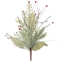 Pack of 6 Green Artificial Iced Foliage Pine Decorative Sprays with Red Berries 22""