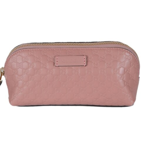 Gucci 449894 Pink Leather Micro GG Guccissima Cosmetic Bag - soft pink