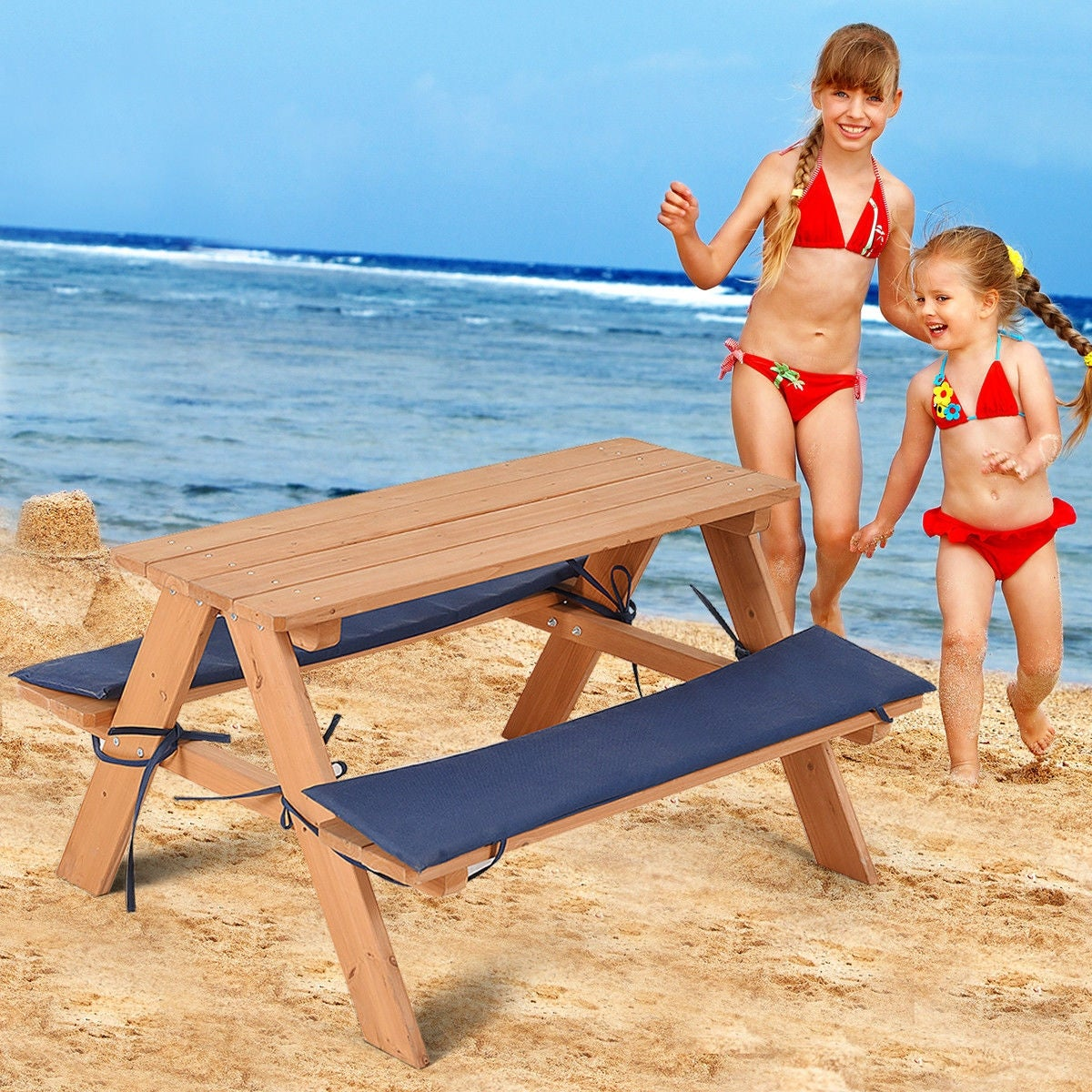 Costway Kids Wooden Picnic Table Bench