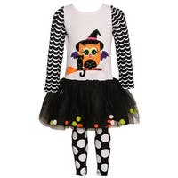 Rare Editions Little Girls White Black Cat Owl Halloween 2 Pc Legging Set