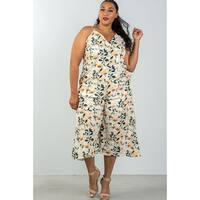 c192fcd2f6b9 Ladies Fashion Plus Size Spaghetti Strap Yellow   Floral Capri Jumpsuit -  Size - 1Xl
