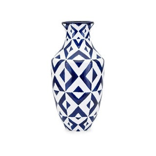 Wide Neck Clay Patterned Vase with Geometric Design, White and Blue
