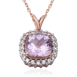 Link to Sterling Silver Kunzite Zircon Pendant Necklace Size 18 Inch Ct 4.9 - Size 18'' Similar Items in Necklaces