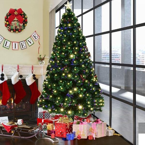 Christmas Tree Fiber Optic Lights: Shop Costway 6' Pre-Lit Fiber Optic Artificial Christmas