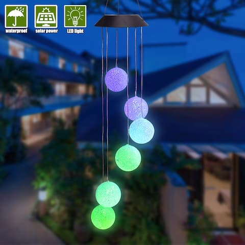Solar Smart Light Control Wave Ball Wind Chime Style String Light