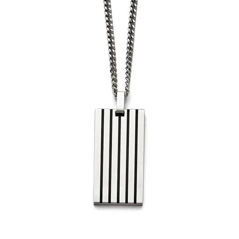 Chisel Stainless Steel Brushed Black Rubber Dogtag Necklace - 22 in