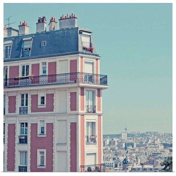 """Orange apartment building with view over Paris, Montmartre, Paris, France."" Poster Print"