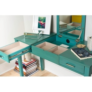 Link to Posh Pollen Ainsley Turquoise Vanity Desk Similar Items in Desks & Computer Tables