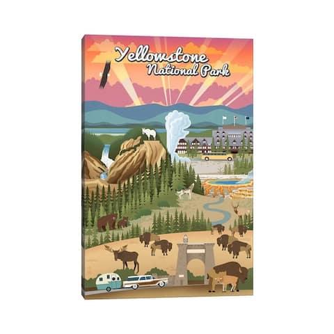 "iCanvas ""Yellowstone National Park (Retro Views)"" by Lantern Press Canvas Print"