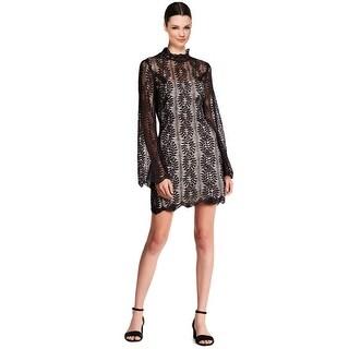 Keepsake Uptown Lace Bell Sleeve Illusion Mock Neck Mini Cocktail Dress Black - s