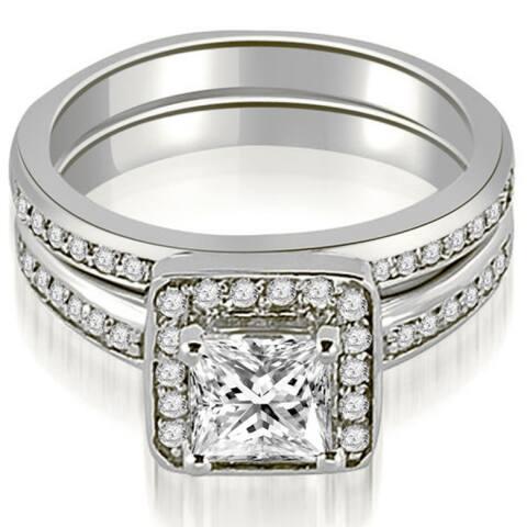 1.00 CT Halo Princess & Round Cut Diamond Matching Set in 14KT Gold - White H-I