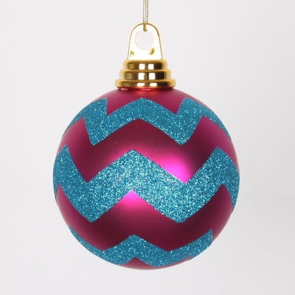 "Cerise Pink Matte and Turquoise Blue Glitter Chevron Shatterproof Christmas Ball Ornaments 4""(100mm)"
