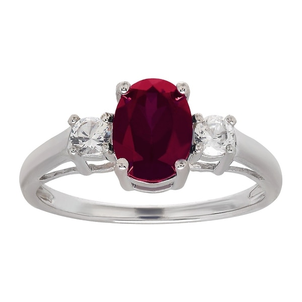1 7/8 ct Created Ruby & White Sapphire Ring in Sterling Silver - Red
