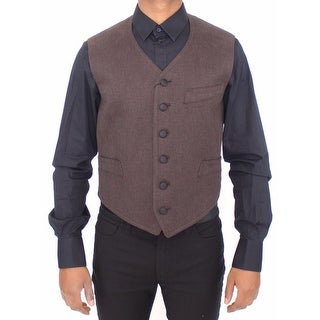 Dolce & Gabbana Dolce & Gabbana Brown Cotton Blend Dress Vest Gilet - it46-s