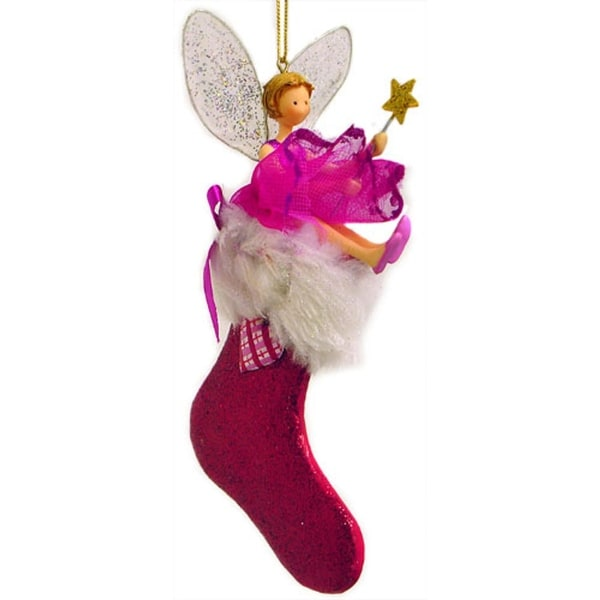 Fairy With Wand In Red Glittery Stocking Christmas Ornament
