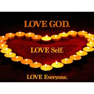 Love God Self Everyone Poster Motivational Quote Candle Print (18x24)