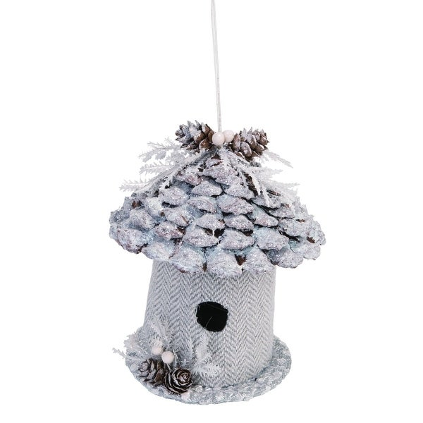 """5"""" White and Brown Bird House Christmas Hanging Decor. Opens flyout."""