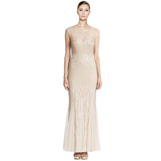 Aidan Mattox Ethereal Beaded Cap-Sleeve Illusion Gown Dress