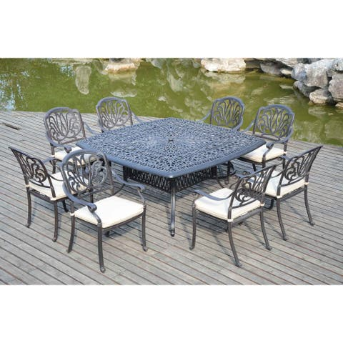 9-Piece Aluminum Outdoor Patio Dining Sets With Square Table And Umbrella Hole
