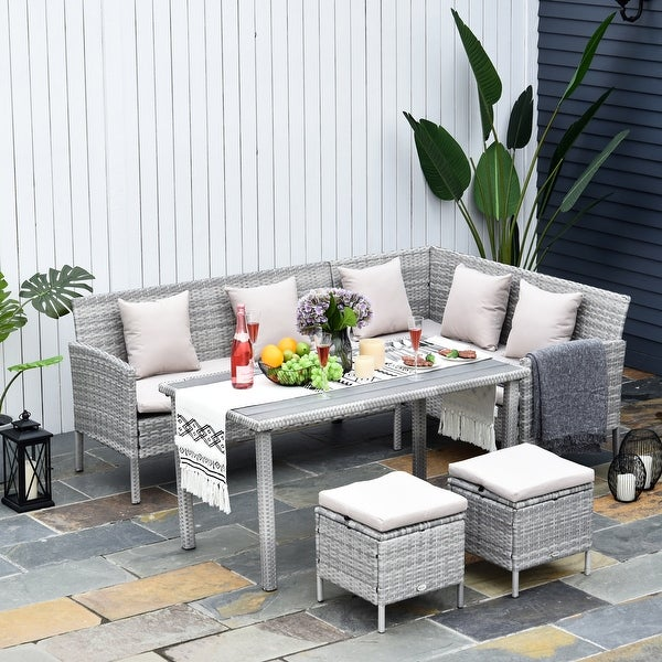 Outsunny 5-Piece Modern Outdoor Wicker Patio Furniture Sets with PE Rattan Resistant to Weather & Quality Build. Opens flyout.