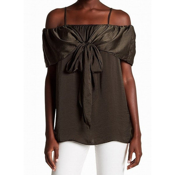 ee1001ef200b79 Shop Pleione Green Womens Size Small S Cold-Shoulder Tie-Front ...