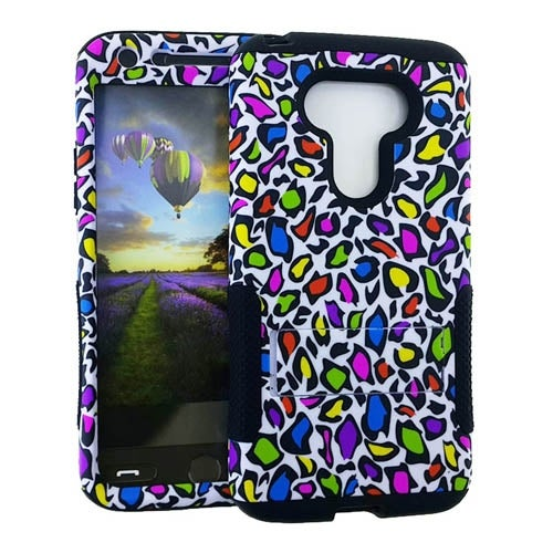 Hopper Protector Case for LG G5 (Colorful Leopard Print Snap and Black Skin)