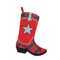 """18.5"""" Country Rustic Red and Black Plaid Cowboy Boot Christmas Stocking"""