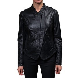 Laundry Women's Black Leather Zip Front Jacket (4 options available)
