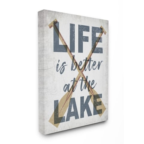 Stupell Industries Life is Better at the Lake Quote Rustic Distressed Text Canvas Wall Art - Multi-Color