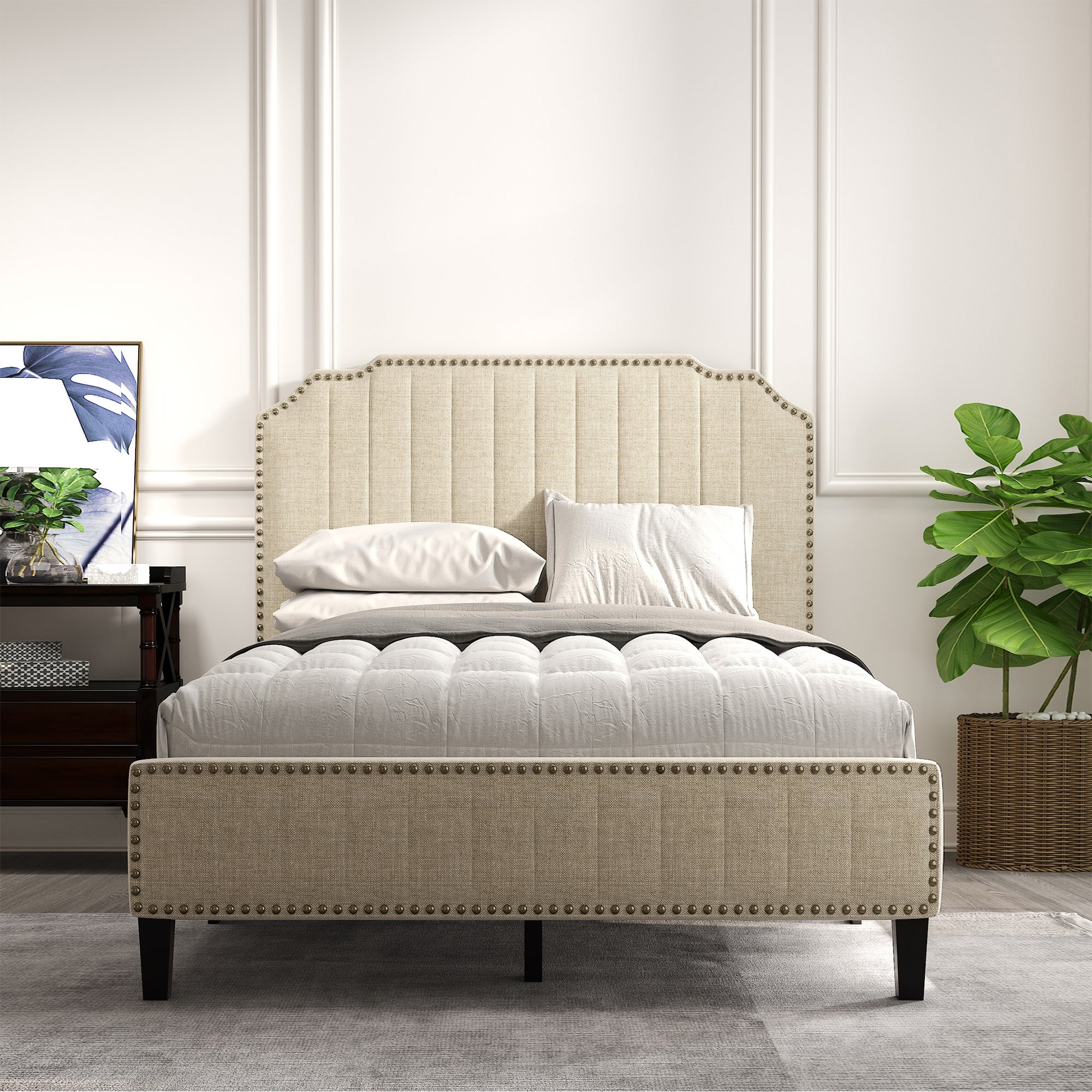 Modern Linen Curved Upholstered Platform Bed With Nailhead Trim Full Overstock 32649435