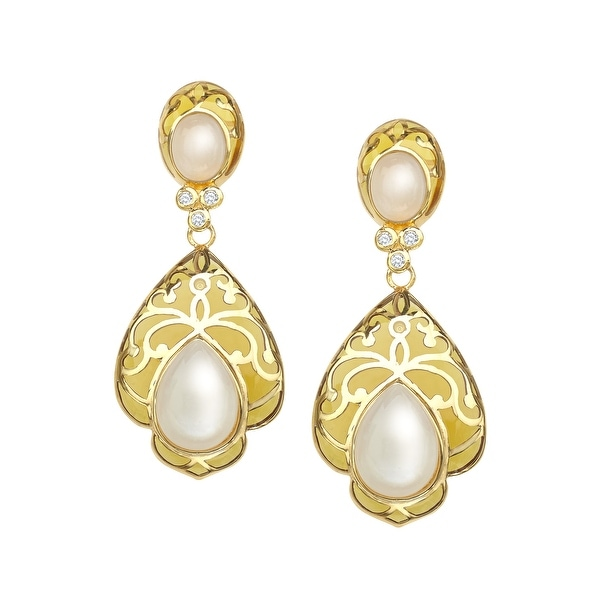Cristina Sabatini Honey Moonstone Baroque Earrings in Gold-Plated Sterling Silver