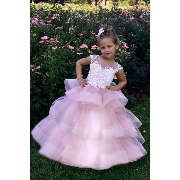 8d233749a7874 Shop TriumphDress Little Girls Pink Lace Overlaid Tulle Susie Flower ...