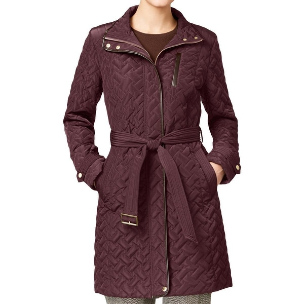 Shop Cole Haan Womens Puffer Coat Quilted Faux Leather Trim S