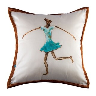 100% Handmade Imported The Dancing Girl Pillow Cover, Shades of Blue and Brown, Brown Trim