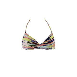 Roxy Juniors Yellow Multi Striped Wrap Halter Bikini Top S