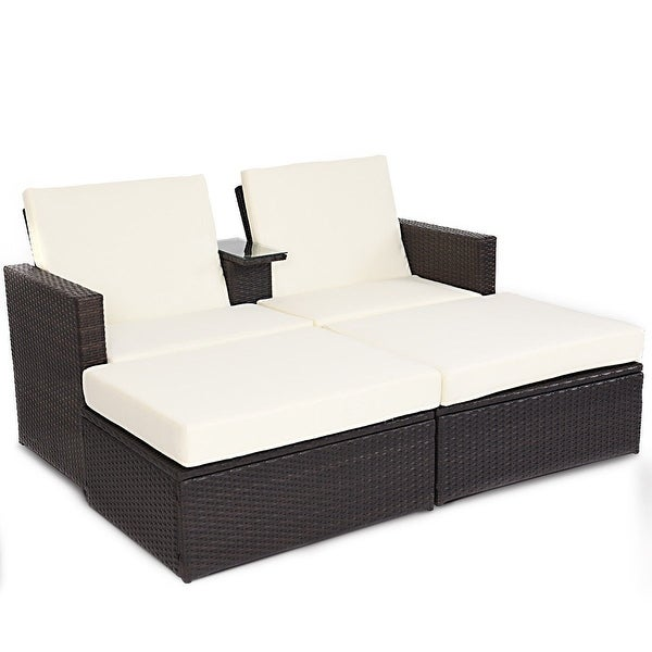 Shop 3 Pcs Outdoor Rattan Wicker Chaise Lounge Love Seat