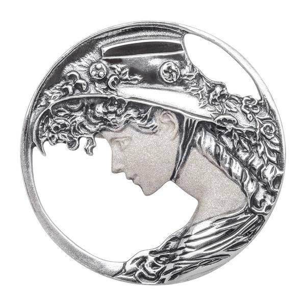 Van Kempen Art Nouveau Brooch in Sterling Silver - White