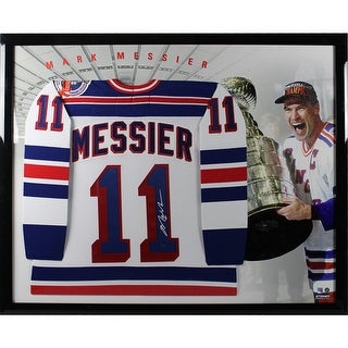 Mark Messier New York Rangers Replica 1994 Stanley Cup Patch Jersey Framed with Canvas Image Backgr