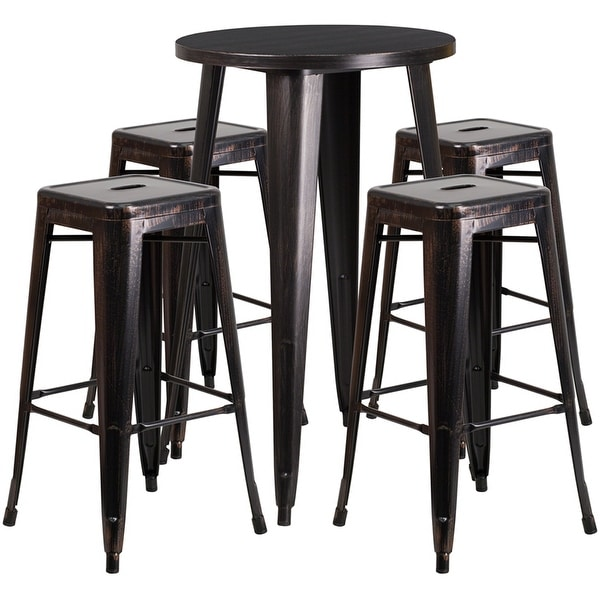 Rochelle Round 24'' Black-Antique Gold Metal Table Set w/4 Square Seat Backless Stools for Restaurant/Bar/Pub/Patio