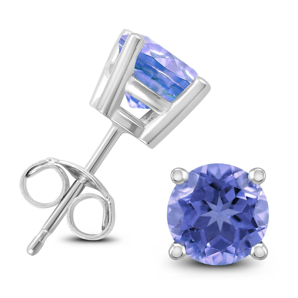 All natural Round Tanzanite stud Earrings in Sterling Silver